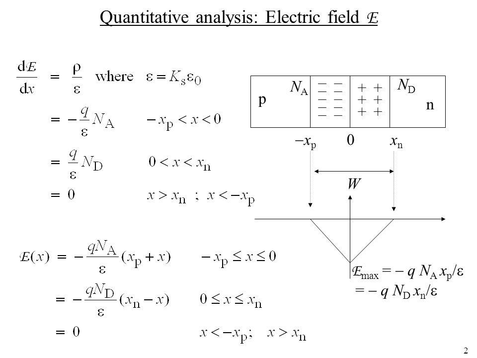 2 Quantitative analysis: Electric field E p n NANA NDND  x p 0x n W E max =  q N A x p /  =  q N D x n / 