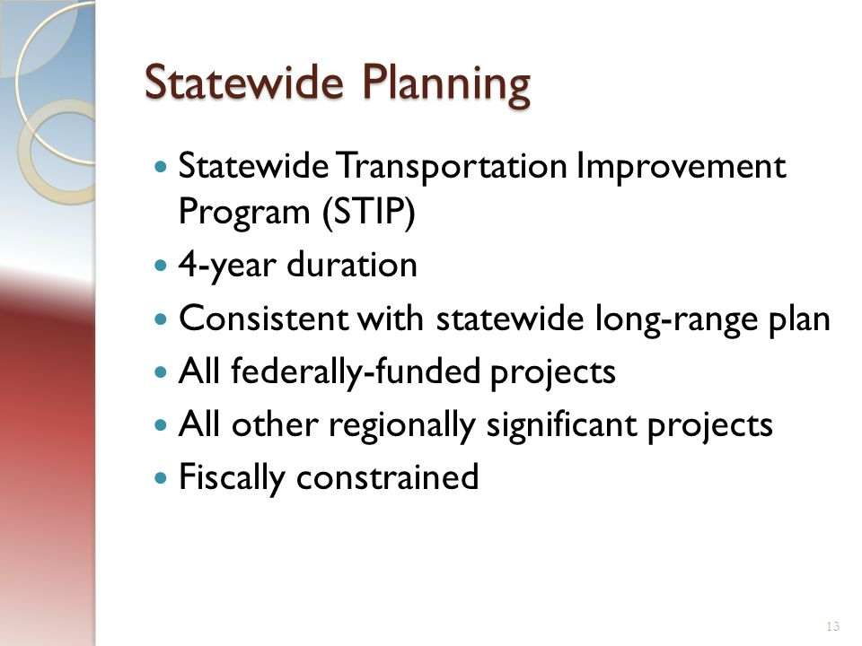 Statewide Planning Statewide Transportation Improvement Program (STIP) 4-year duration Consistent with statewide long-range plan All federally-funded