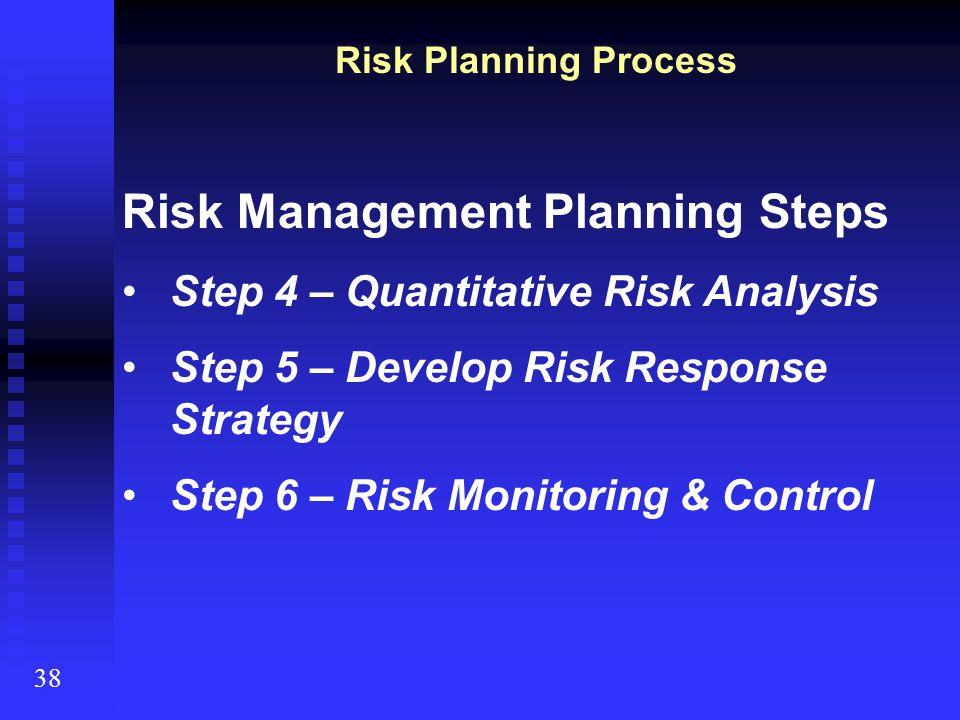 38 Risk Planning Process Risk Management Planning Steps Step 4 – Quantitative Risk Analysis Step 5 – Develop Risk Response Strategy Step 6 – Risk Moni