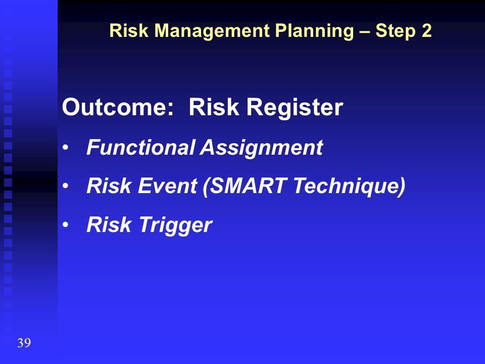39 Risk Management Planning – Step 2 Outcome: Risk Register Functional Assignment Risk Event (SMART Technique) Risk Trigger