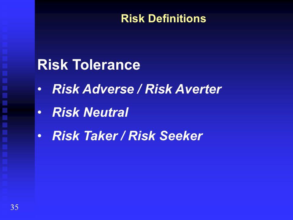 Risk Definitions Risk Tolerance Risk Adverse / Risk Averter Risk Neutral Risk Taker / Risk Seeker 35