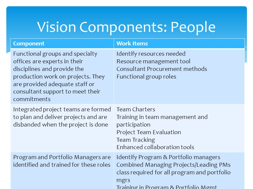 Vision Components: People ComponentWork Items Functional groups and specialty offices are experts in their disciplines and provide the production work on projects.