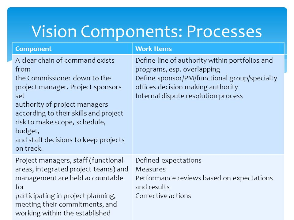 Vision Components: Processes ComponentWork Items A clear chain of command exists from the Commissioner down to the project manager.