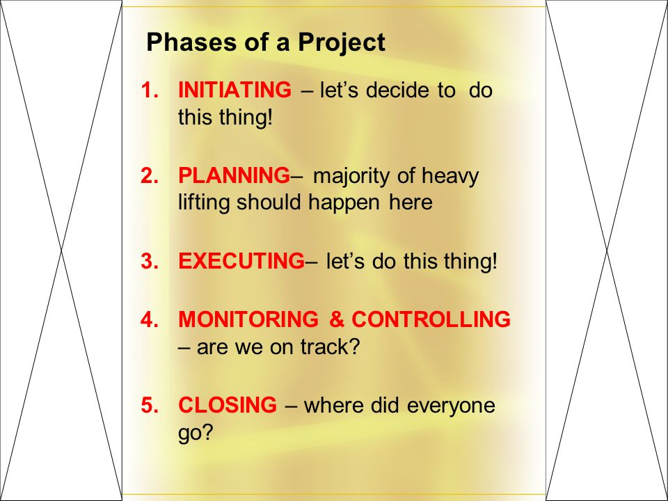 Phases of a Project 1.INITIATING – let's decide to do this thing.