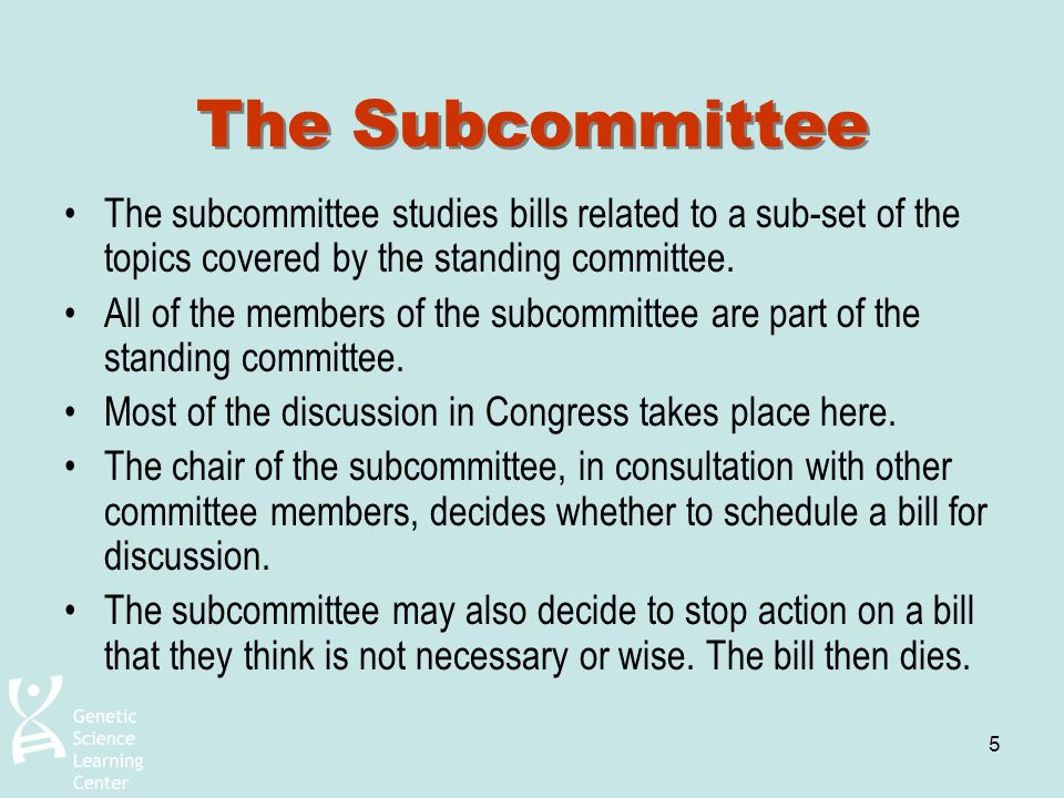 5 The Subcommittee The subcommittee studies bills related to a sub-set of the topics covered by the standing committee. All of the members of the subc