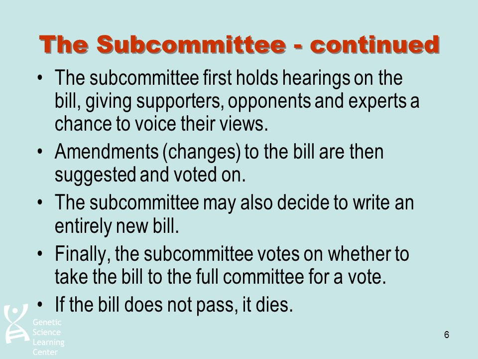 6 The Subcommittee - continued The subcommittee first holds hearings on the bill, giving supporters, opponents and experts a chance to voice their vie