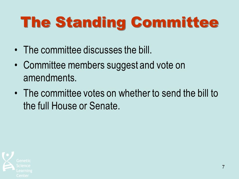 7 The Standing Committee The committee discusses the bill. Committee members suggest and vote on amendments. The committee votes on whether to send th