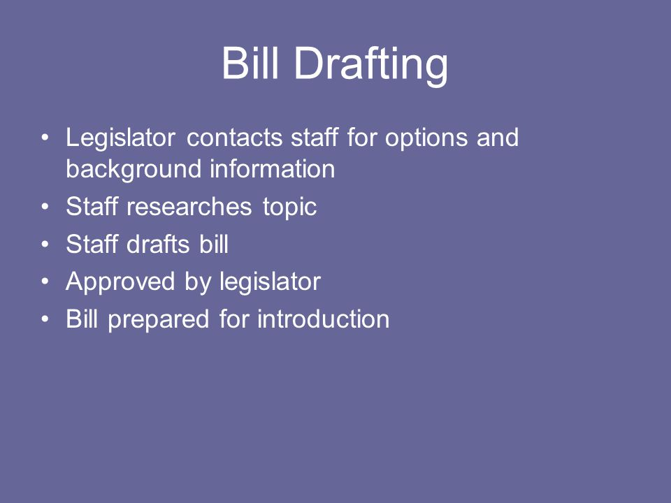 Bill Drafting Legislator contacts staff for options and background information Staff researches topic Staff drafts bill Approved by legislator Bill pr