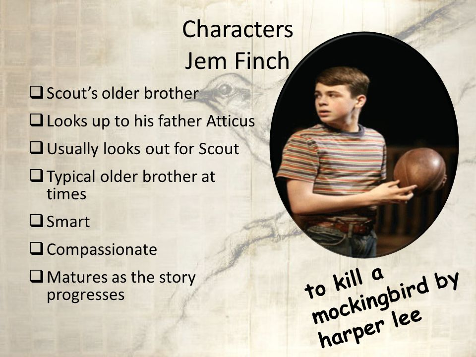 Characters Atticus Finch  Father of Scout and Jem  A widower  An attorney by profession  Highly respected  Good citizen  Instills good values and morals in his children.