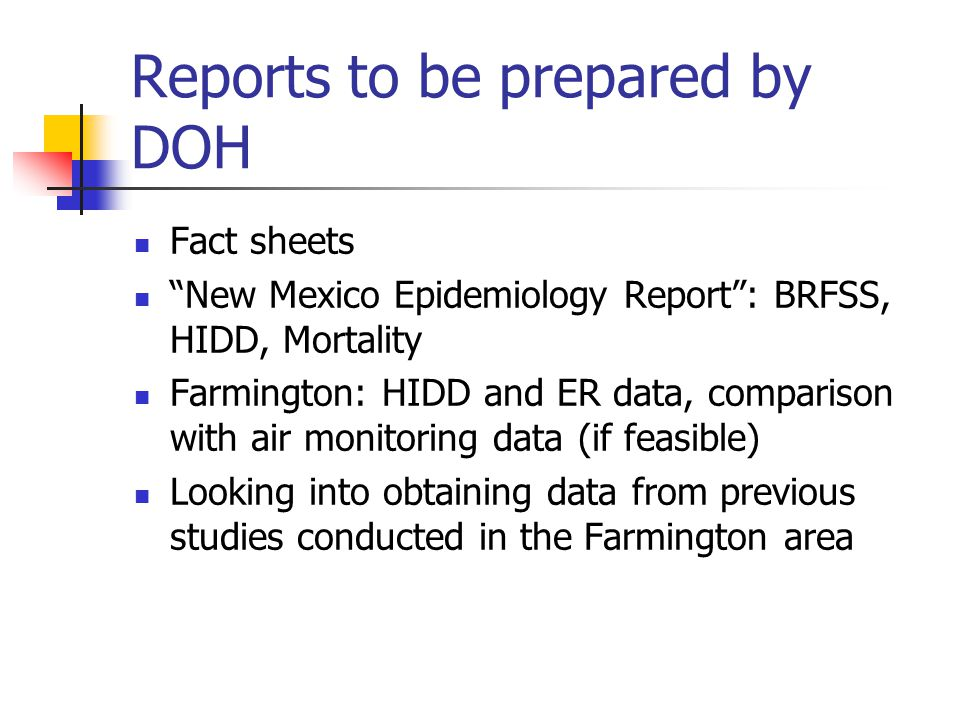 Presentations by DOH National Data – correlation between ozone concentrations and ER visits for asthma and other respiratory conditions Health effects of ozone Reduce exposure to ozone and other environmental triggers