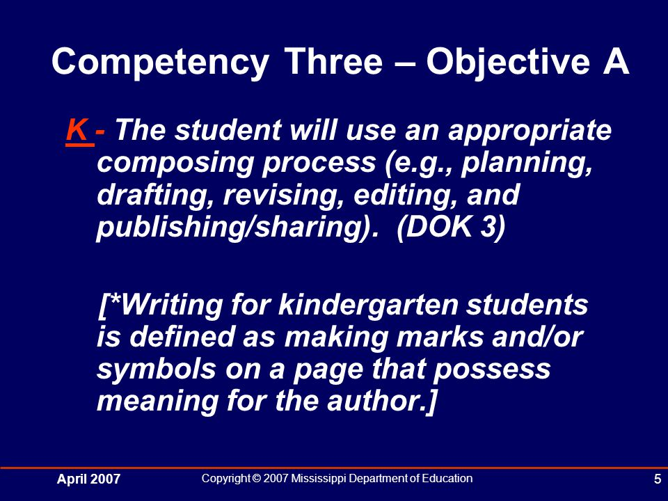 April 2007 Copyright © 2007 Mississippi Department of Education 5 Competency Three – Objective A K - The student will use an appropriate composing process (e.g., planning, drafting, revising, editing, and publishing/sharing).