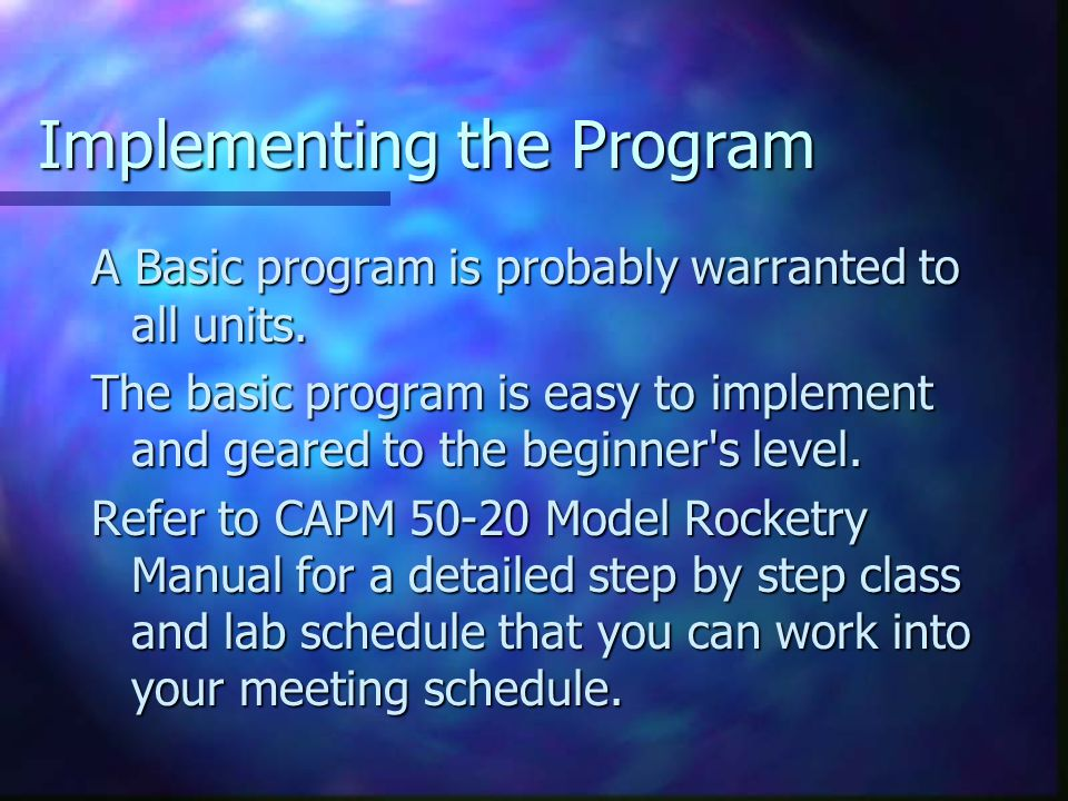 Promoting the Program How do you establish a model rocketry program.