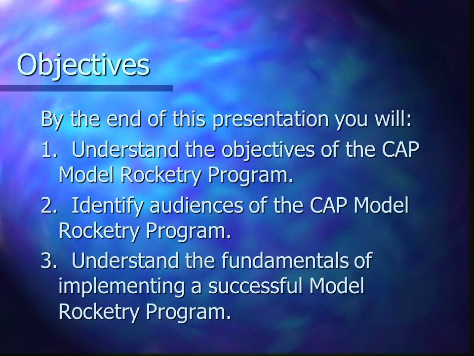 Implementing the Program (Continued) Restrictions: No member may use home constructed engines also known as Amateur rockets.