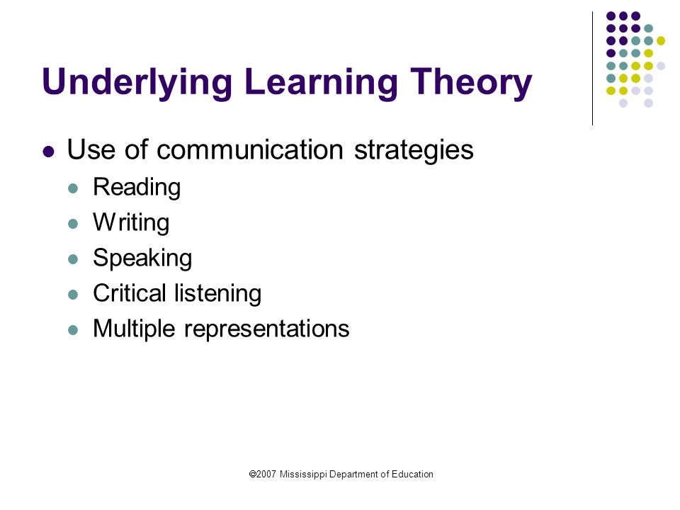  2007 Mississippi Department of Education Underlying Learning Theory Connections across topics Links to previous understandings Use of threads or strands through all topics Multiple, linked objectives taught concurrently to eliminate isolated and fragmented teaching