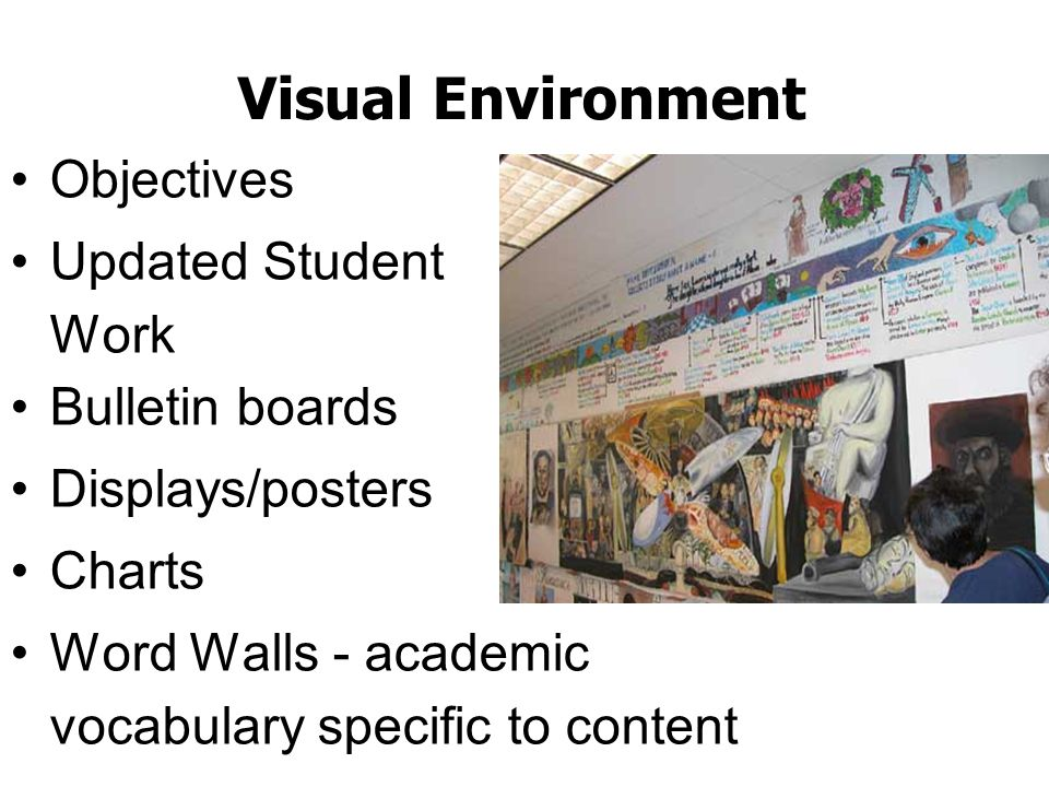 Visual Environment Objectives Updated Student Work Bulletin boards Displays/posters Charts Word Walls - academic vocabulary specific to content