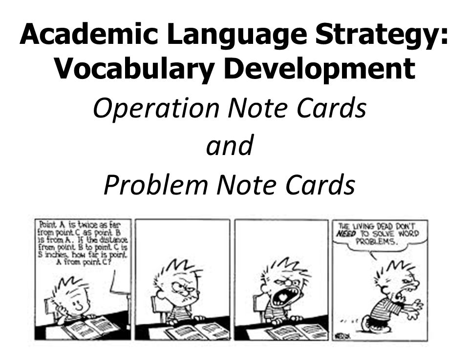 Academic Language Strategy: Vocabulary Development Operation Note Cards and Problem Note Cards