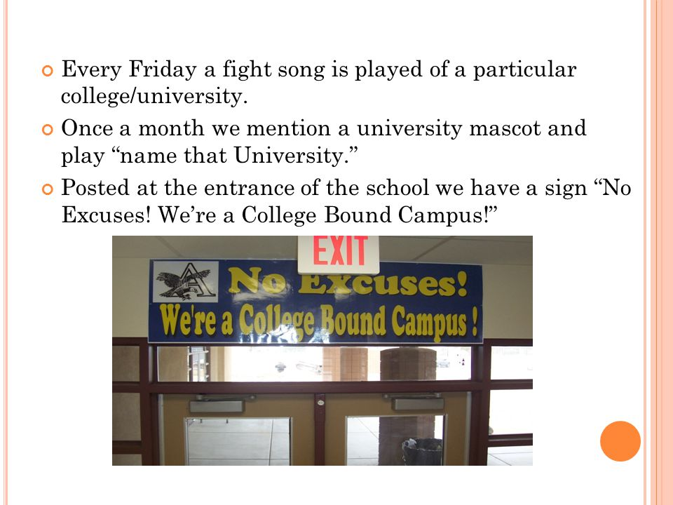 Every Friday a fight song is played of a particular college/university.