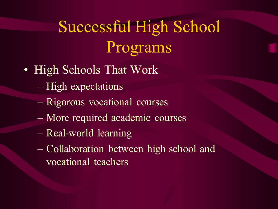 Successful High School Programs High Schools That Work –High expectations –Rigorous vocational courses –More required academic courses –Real-world learning –Collaboration between high school and vocational teachers