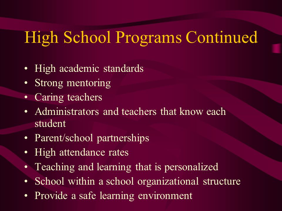 High School Programs Continued High academic standards Strong mentoring Caring teachers Administrators and teachers that know each student Parent/school partnerships High attendance rates Teaching and learning that is personalized School within a school organizational structure Provide a safe learning environment