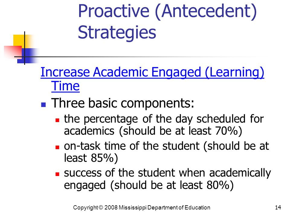 14 Proactive (Antecedent) Strategies Increase Academic Engaged (Learning) Time Three basic components: the percentage of the day scheduled for academics (should be at least 70%) on-task time of the student (should be at least 85%) success of the student when academically engaged (should be at least 80%) Copyright © 2008 Mississippi Department of Education