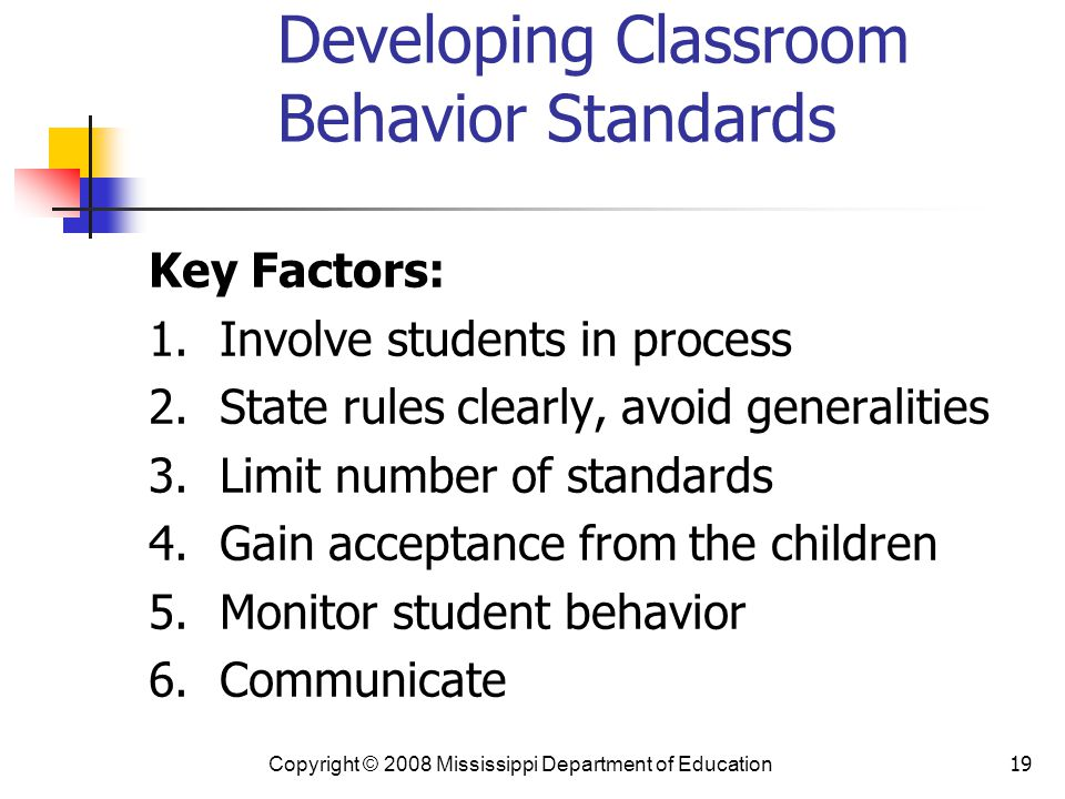 19 Developing Classroom Behavior Standards Key Factors: 1.Involve students in process 2.State rules clearly, avoid generalities 3.Limit number of standards 4.Gain acceptance from the children 5.Monitor student behavior 6.Communicate Copyright © 2008 Mississippi Department of Education