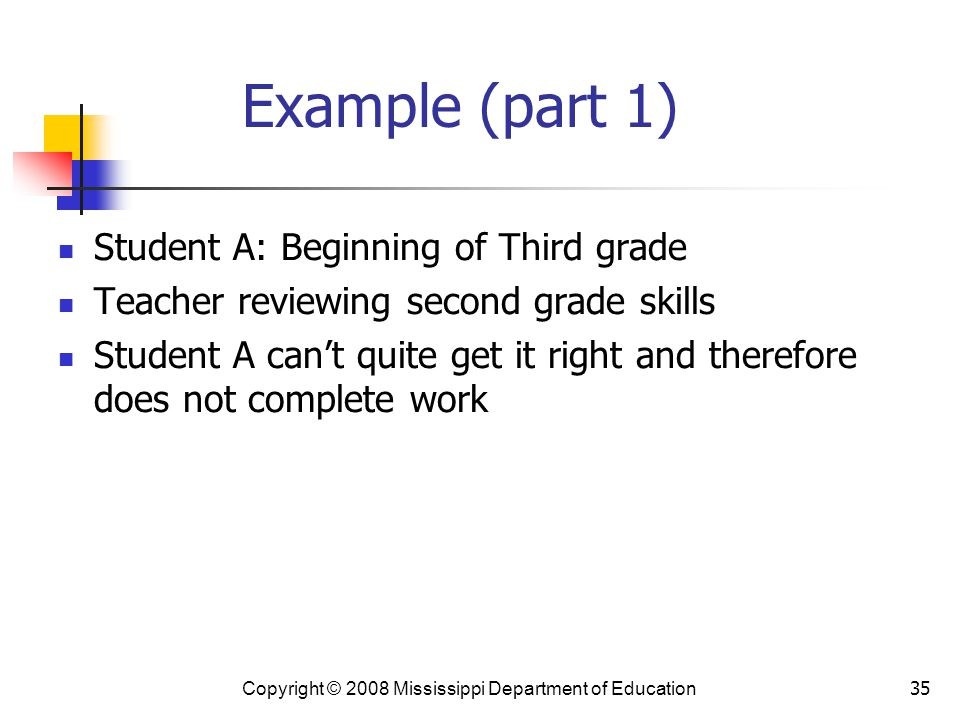 35 Example (part 1) Student A: Beginning of Third grade Teacher reviewing second grade skills Student A can't quite get it right and therefore does not complete work Copyright © 2008 Mississippi Department of Education