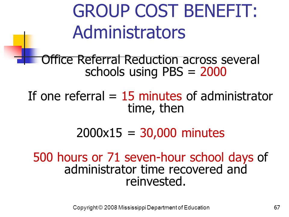 67 GROUP COST BENEFIT: Administrators Office Referral Reduction across several schools using PBS = 2000 If one referral = 15 minutes of administrator time, then 2000x15 = 30,000 minutes 500 hours or 71 seven-hour school days of administrator time recovered and reinvested.