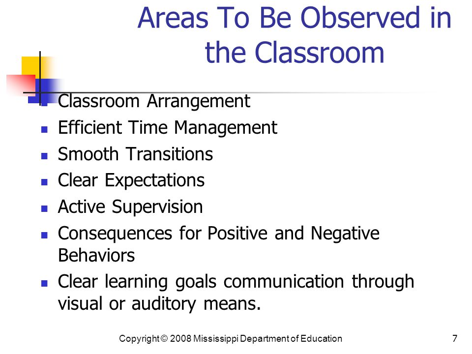 7 Areas To Be Observed in the Classroom Classroom Arrangement Efficient Time Management Smooth Transitions Clear Expectations Active Supervision Consequences for Positive and Negative Behaviors Clear learning goals communication through visual or auditory means.