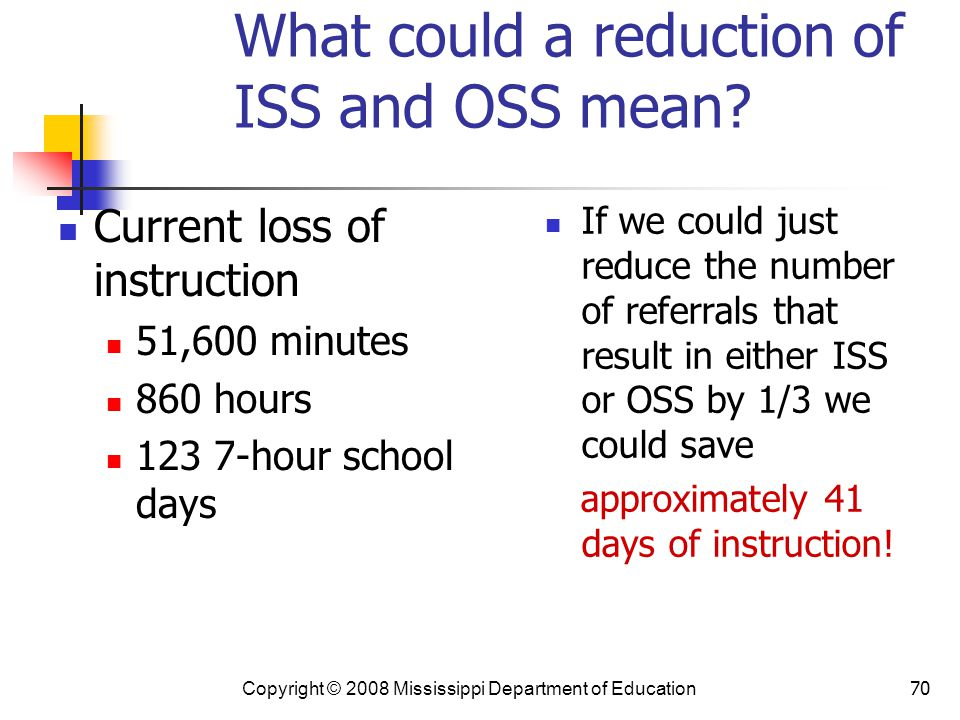 70 What could a reduction of ISS and OSS mean.