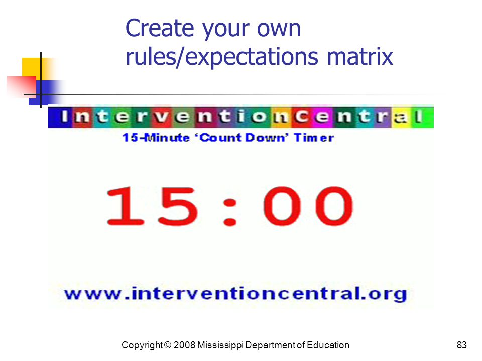 83 Create your own rules/expectations matrix Copyright © 2008 Mississippi Department of Education