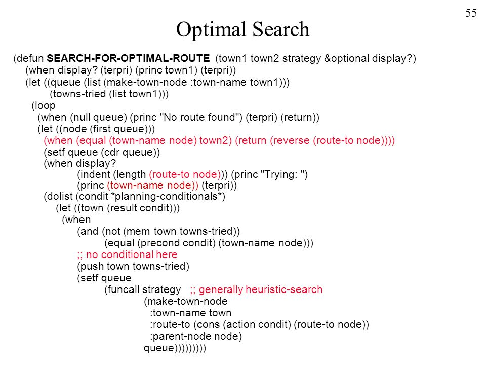 55 Optimal Search (defun SEARCH-FOR-OPTIMAL-ROUTE (town1 town2 strategy &optional display ) (when display.