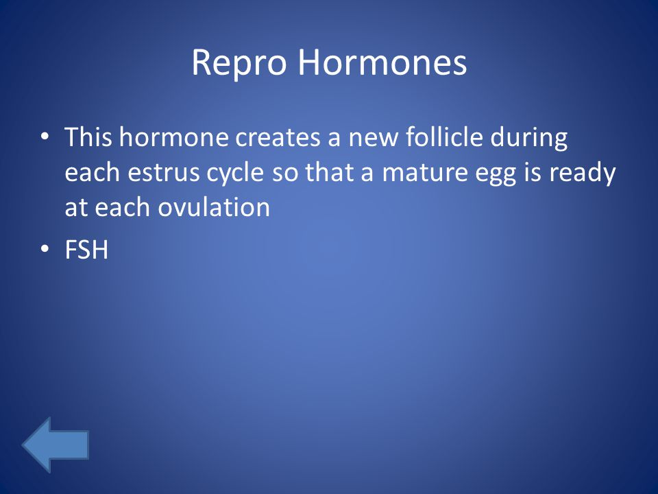 Repro Hormones This hormone creates a new follicle during each estrus cycle so that a mature egg is ready at each ovulation FSH