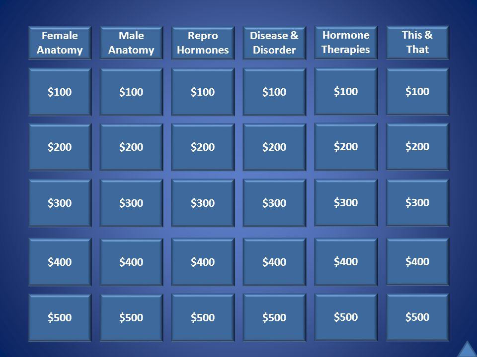 $100 $200 $300 $400 $500 Female Anatomy Male Anatomy Repro Hormones Disease & Disorder Hormone Therapies This & That