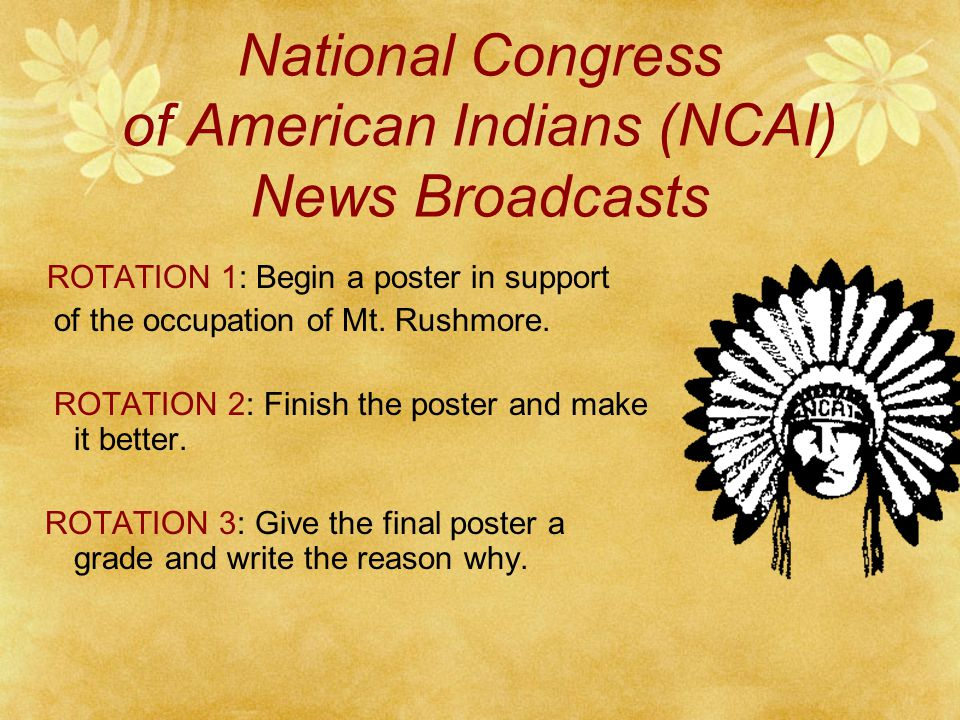 1961: National Congress of American Indians  wanted control of federal programs and treaty rights
