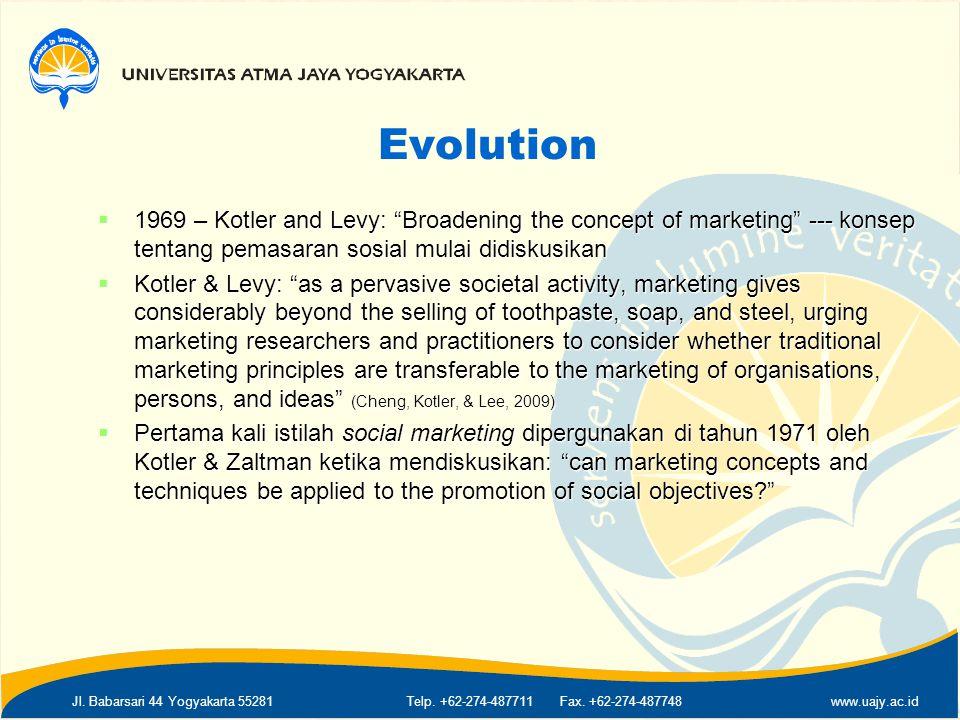 "Jl. Babarsari 44 Yogyakarta 55281Telp. +62-274-487711 Fax. +62-274-487748www.uajy.ac.id Evolution  1969 – Kotler and Levy: ""Broadening the concept of"