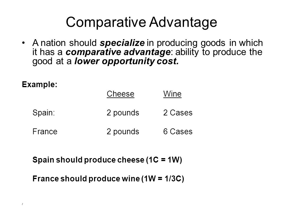 Comparative Advantage A nation should specialize in producing goods in which it has a comparative advantage: ability to produce the good at a lower opportunity cost.