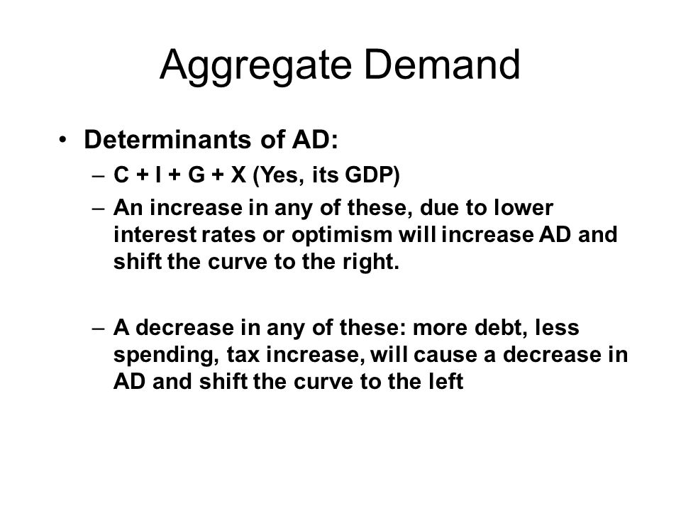 Aggregate Demand Determinants of AD: –C + I + G + X (Yes, its GDP) –An increase in any of these, due to lower interest rates or optimism will increase AD and shift the curve to the right.
