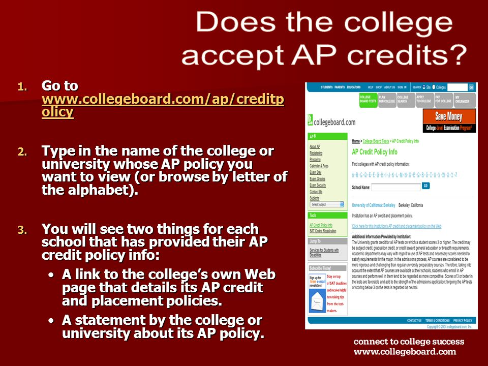 1. Go to www.collegeboard.com/ap/creditp olicy www.collegeboard.com/ap/creditp olicy www.collegeboard.com/ap/creditp olicy 2. Type in the name of the
