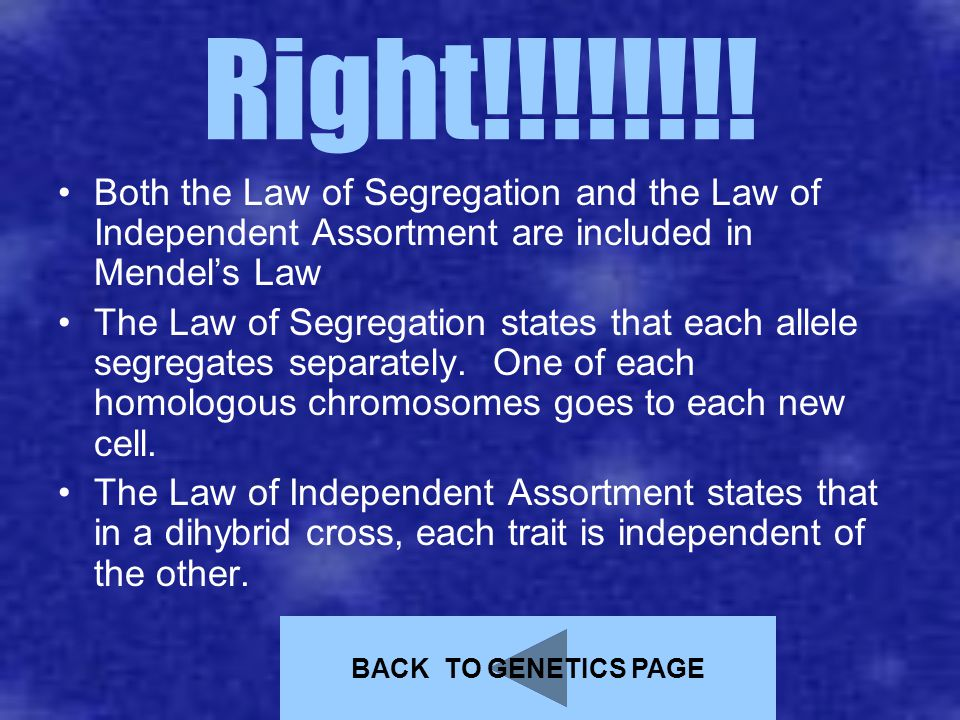 Right!!!!!!!! Both the Law of Segregation and the Law of Independent Assortment are included in Mendel's Law The Law of Segregation states that each a