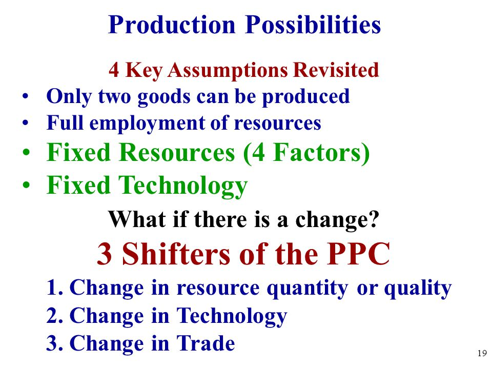 4 Key Assumptions Revisited Only two goods can be produced Full employment of resources Fixed Resources (4 Factors) Fixed Technology What if there is