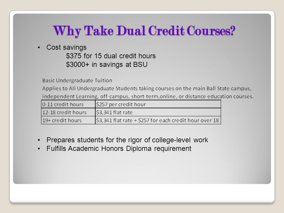 Why Take Dual Credit Courses? Cost savings $375 for 15 dual credit hours $3000+ in savings at BSU Prepares students for the rigor of college-level wor