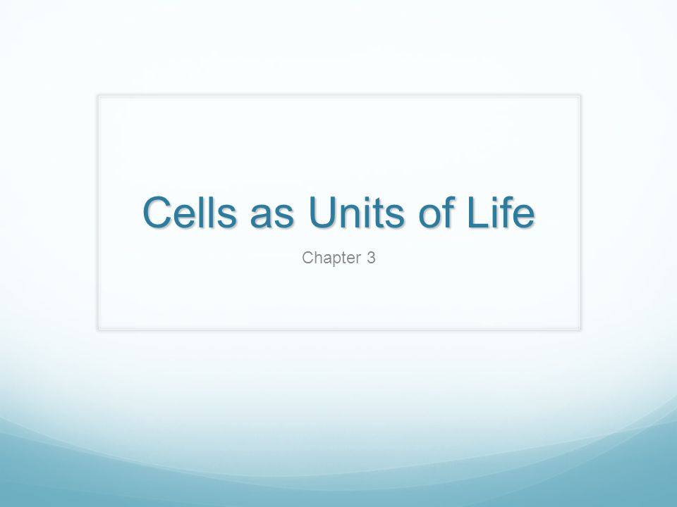 Cell Theory Cells represent the basic structural and functional unit of life.