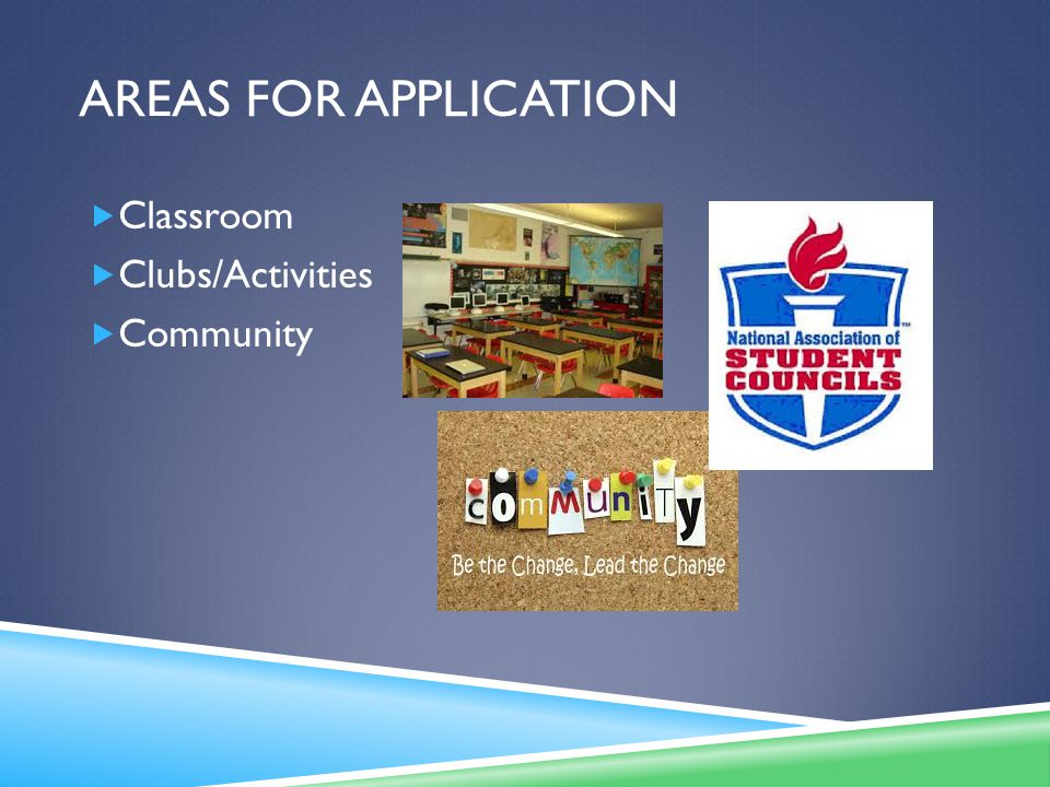 AREAS FOR APPLICATION  Classroom  Clubs/Activities  Community