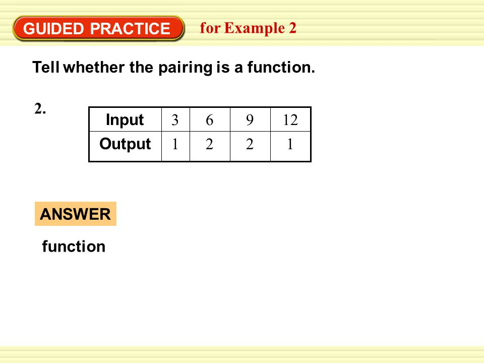 GUIDED PRACTICE for Example 2 Tell whether the pairing is a function.
