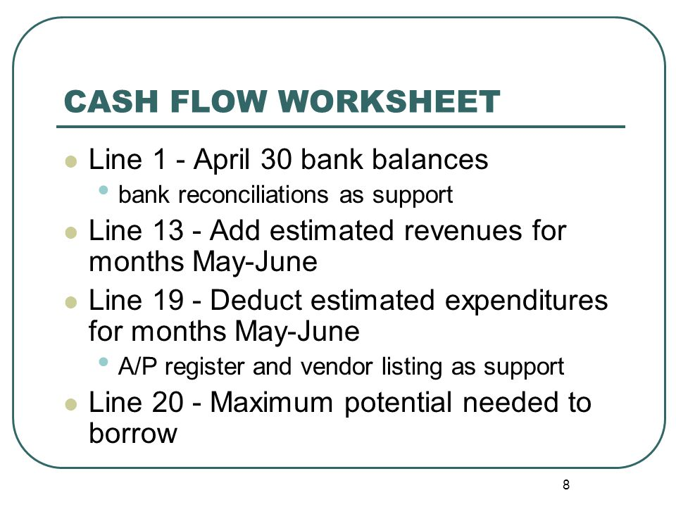 9 CASH FLOW WORKSHEET– cont'd Lines 21-23 represent federal programs in the district.