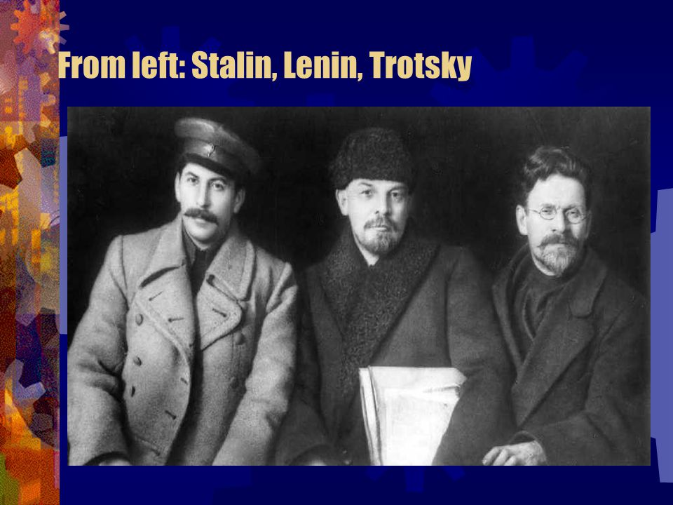 From left: Stalin, Lenin, Trotsky