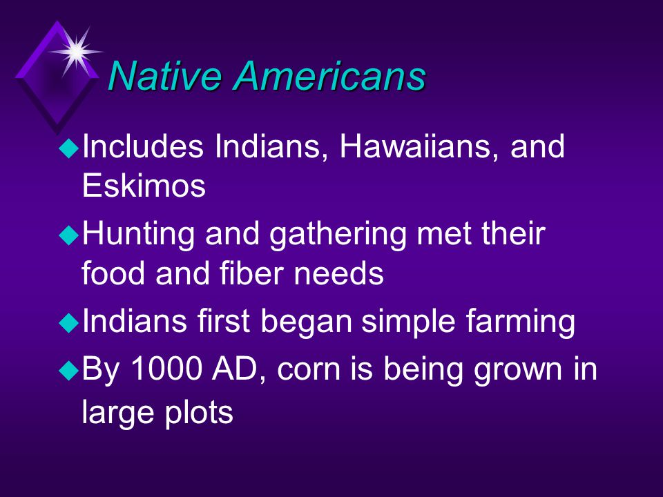 Native Americans u Includes Indians, Hawaiians, and Eskimos u Hunting and gathering met their food and fiber needs u Indians first began simple farming u By 1000 AD, corn is being grown in large plots
