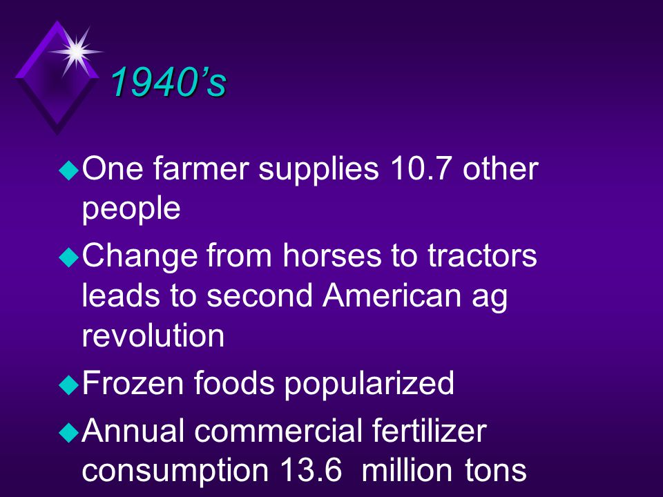 1940's u One farmer supplies 10.7 other people u Change from horses to tractors leads to second American ag revolution u Frozen foods popularized u Annual commercial fertilizer consumption 13.6 million tons
