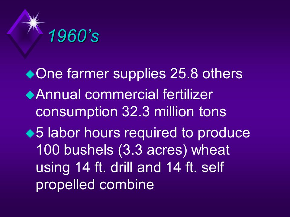 1960's u One farmer supplies 25.8 others u Annual commercial fertilizer consumption 32.3 million tons u 5 labor hours required to produce 100 bushels (3.3 acres) wheat using 14 ft.