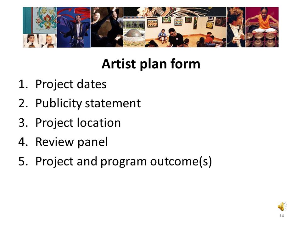 Artist and participant estimate form Number of artists who will provide artistic services for the project Number of youth and adults in the audience o